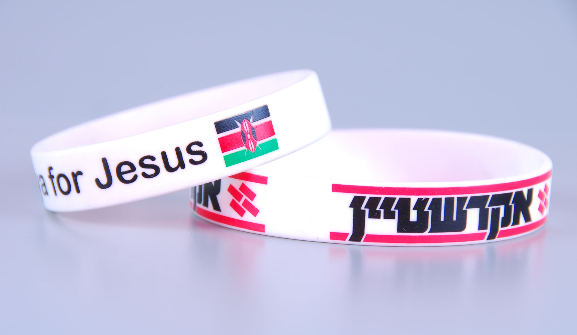 Women size rubber bracelet with custom logo