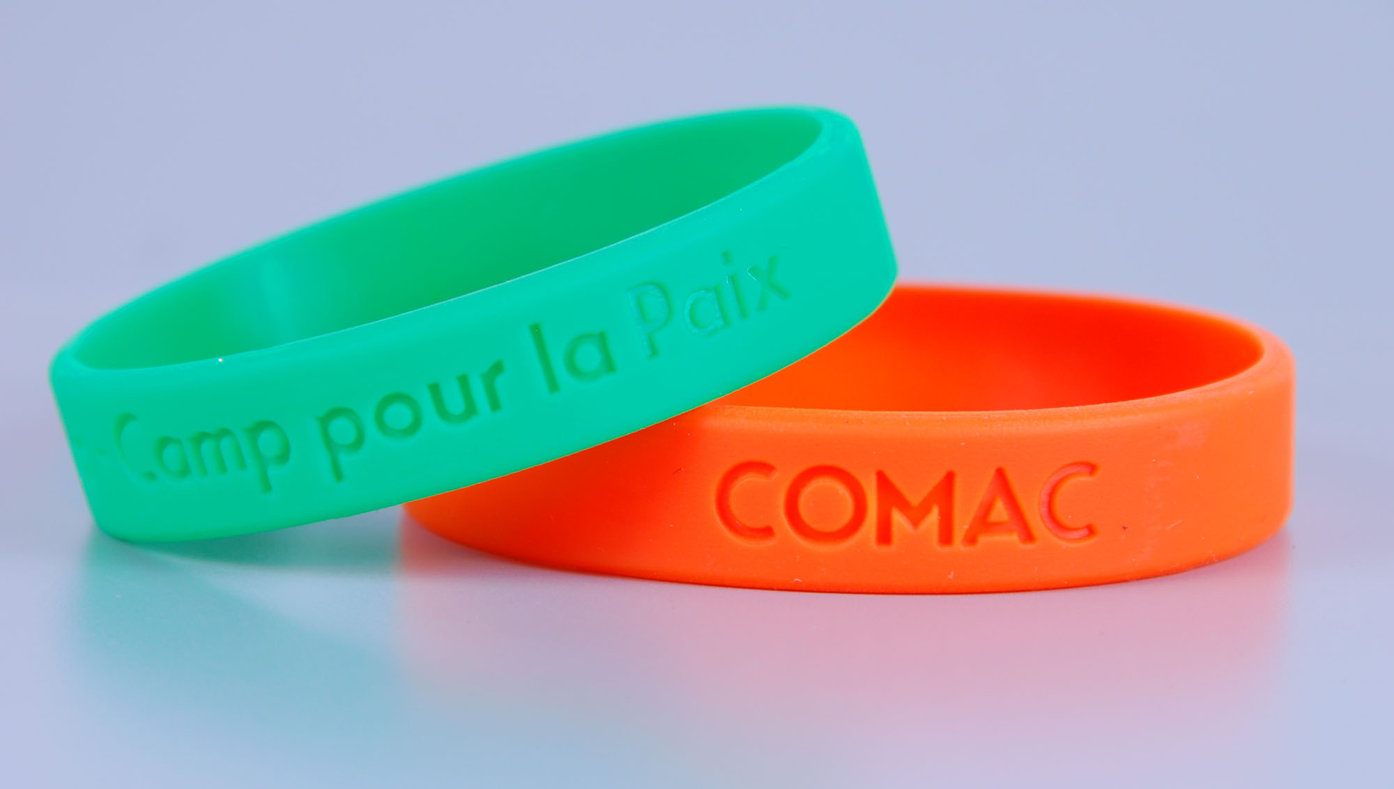 Rubber wristbands with custom debossed logo