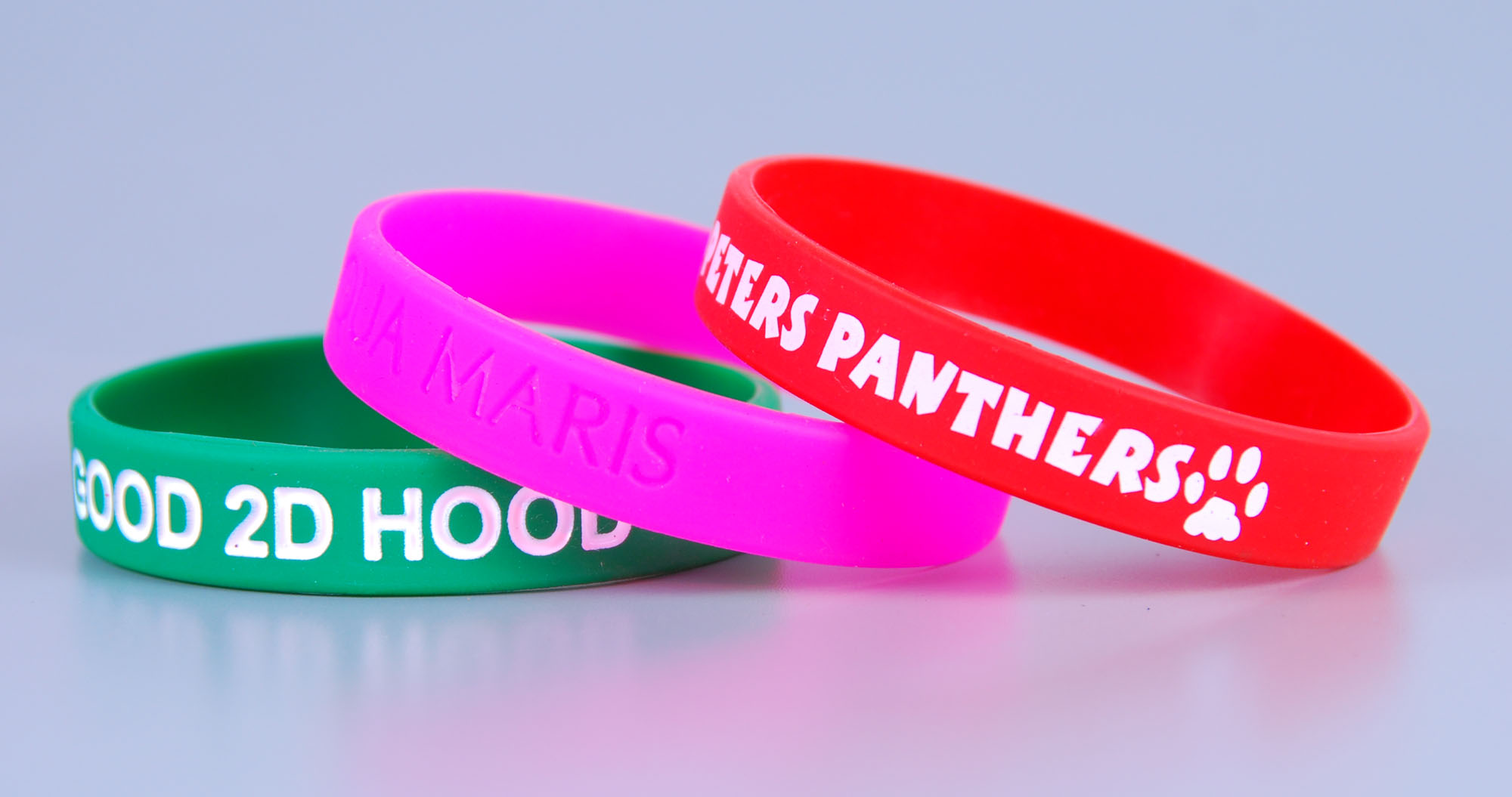 UK custom debossed logo rubber bands