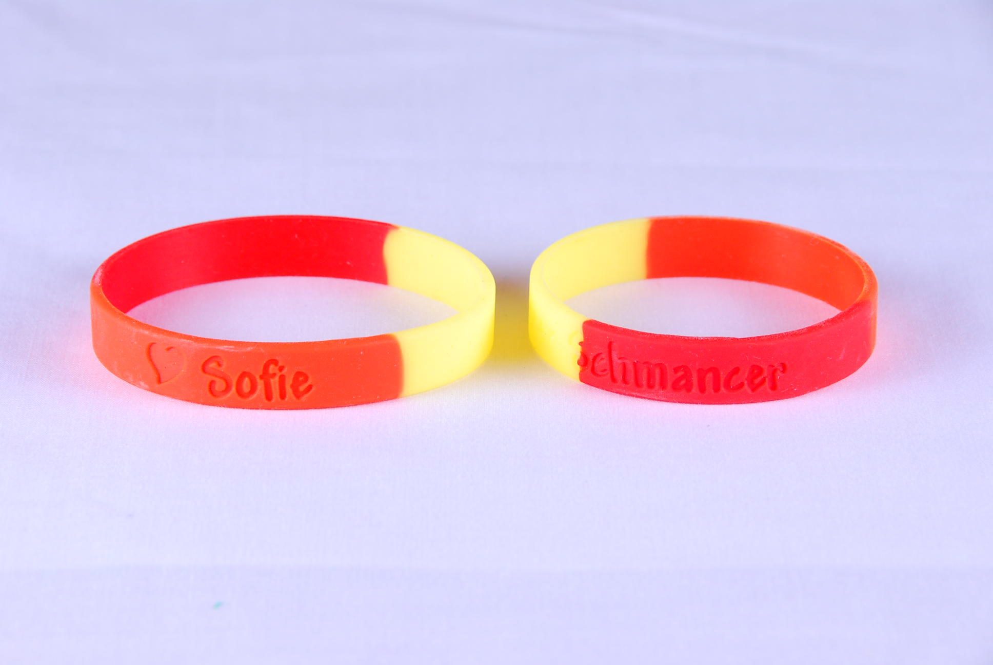 Double colored rubber bands with custom logo