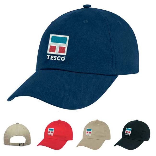 6 panel brushed twill baseball cap