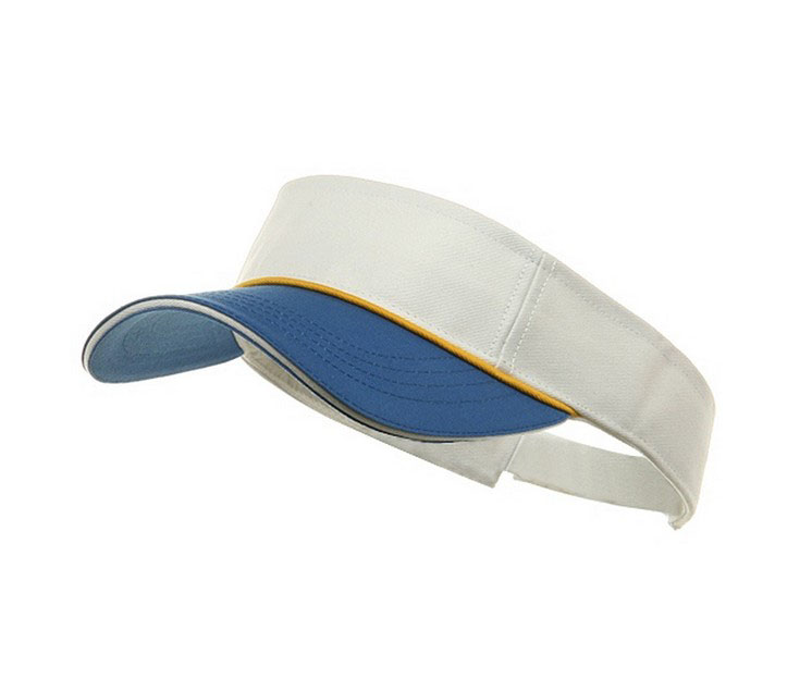 Two tone low profile cotton visor with sandwich bill