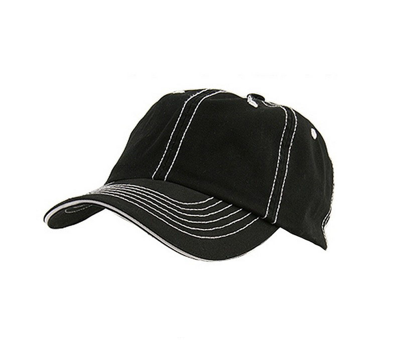 Retro black 6 panel cotton low profile structured cap