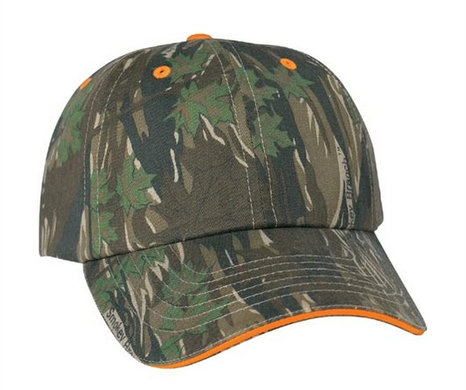 Camouflage styled 6 panel structured cap