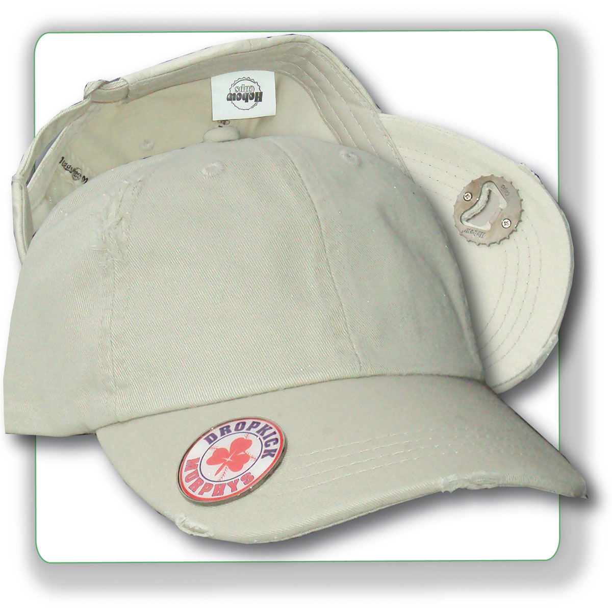 6 panel cotton cap with high duty beverage opener