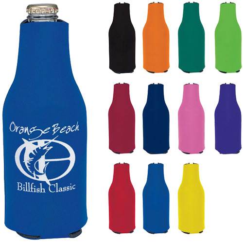 Collapsible custom Zip-Up Bottle Koozie