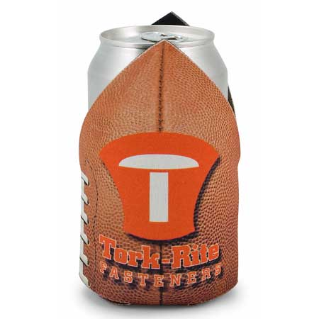 Football shape cutsom logo can cooler for promotional