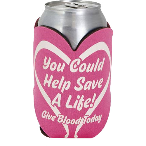 Custom imprinted heart shape action koozie/can cooler