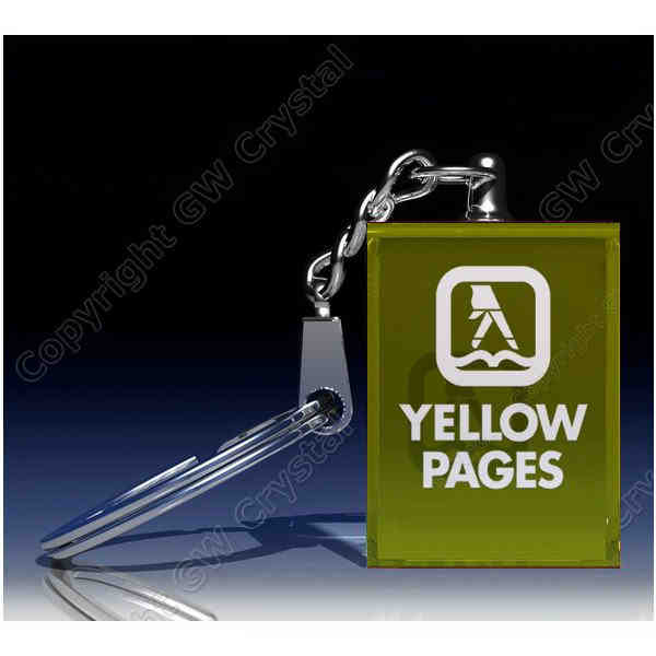 Yellow glass customized key chain