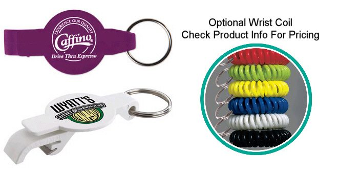 Promotional round plastic bottle opener key tags
