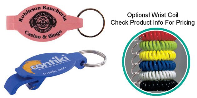 Personalised plastic bottle opener key fob