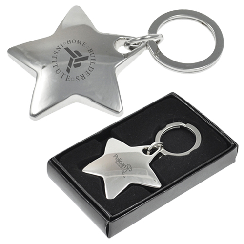 Star shaped engraved metal key tags