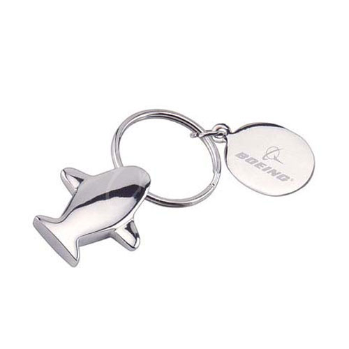 Airplane-shaped metal engraved key holders