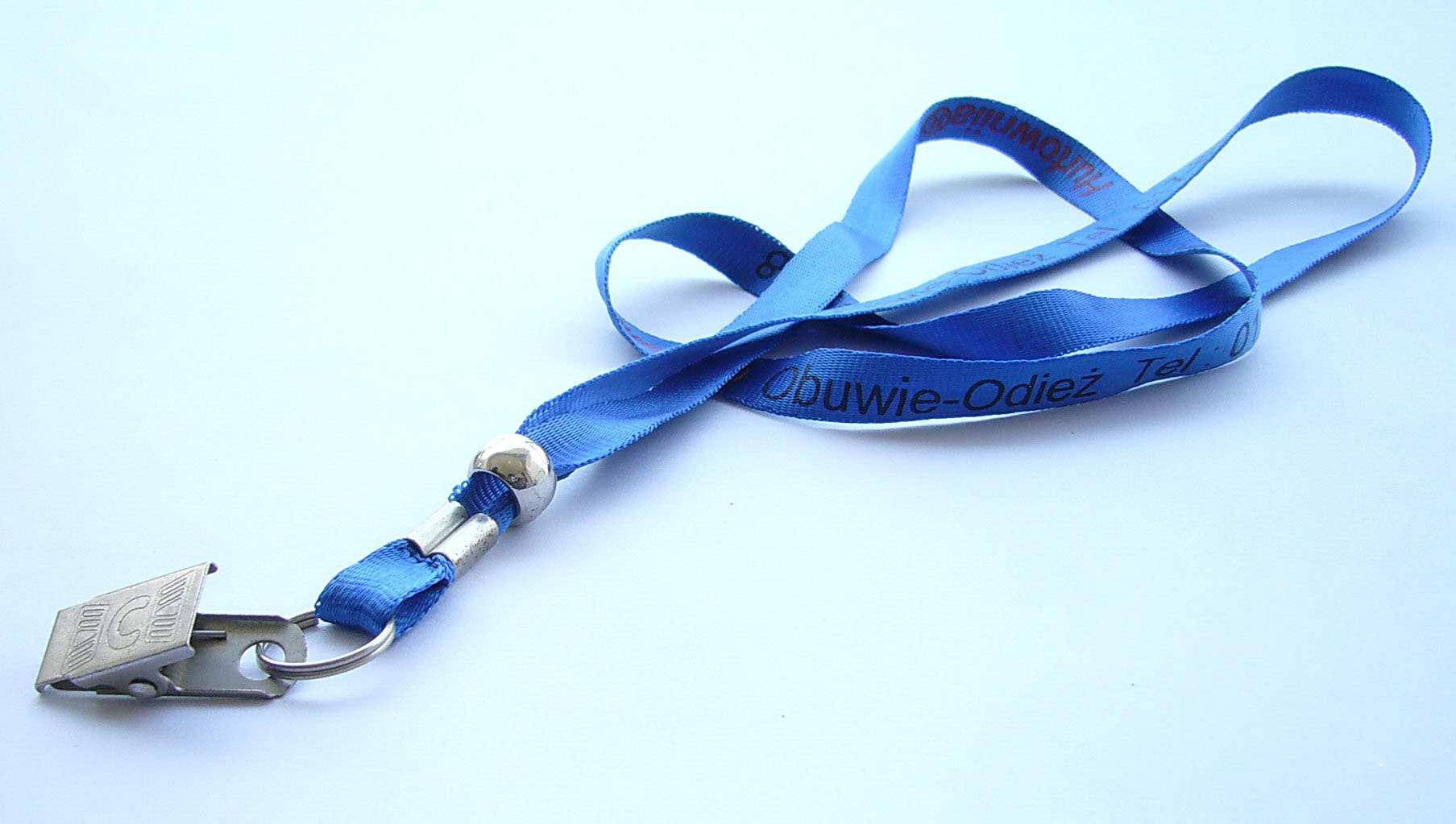 Polyester lanyard with metal bulldog clip