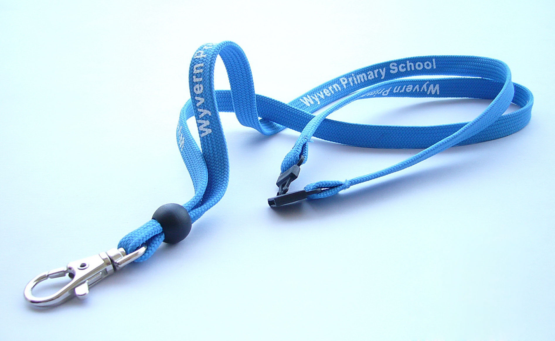 Tubular cotton lanyard with metal 360 degree swivel lobster claw