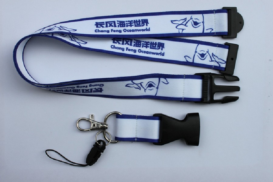 Polyester lanyard with plastic safety release buckle & safety br