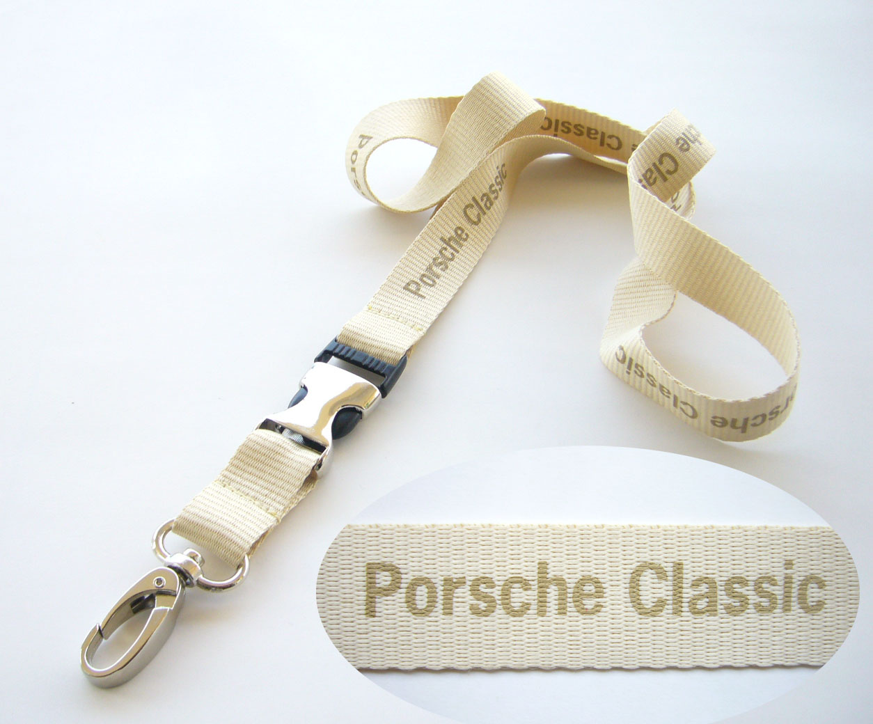 Polyester lanyard with half metal safety release buckle