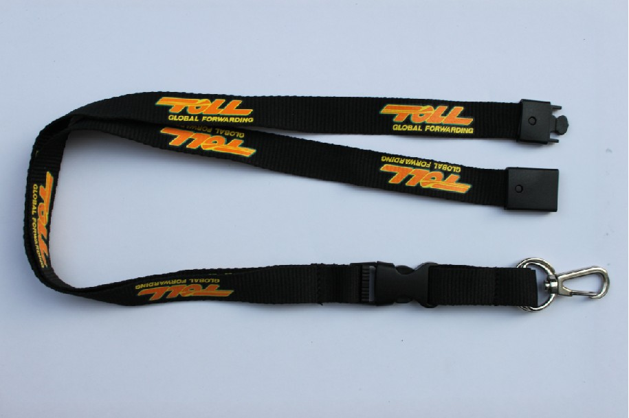 Polyester lanyard with nickel plated swivel oval hook and plasti