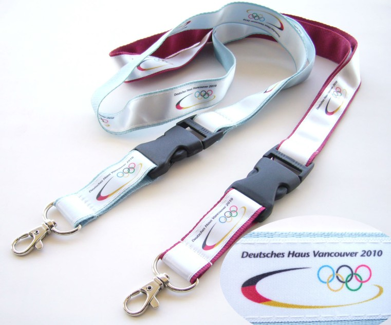 Polyester lanyard with plastic safety release buckle