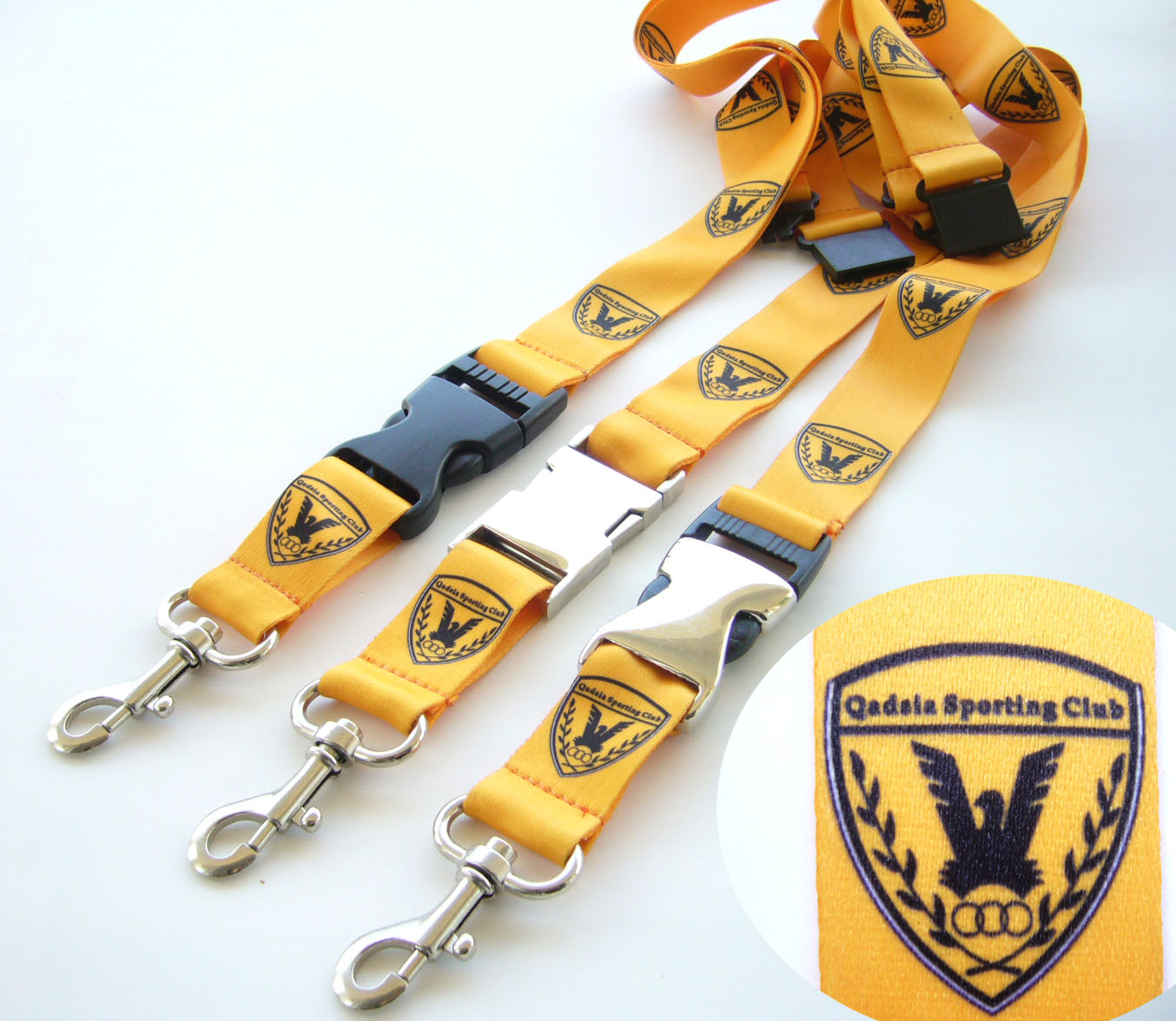 Polyester lanyard with metal safety release buckle