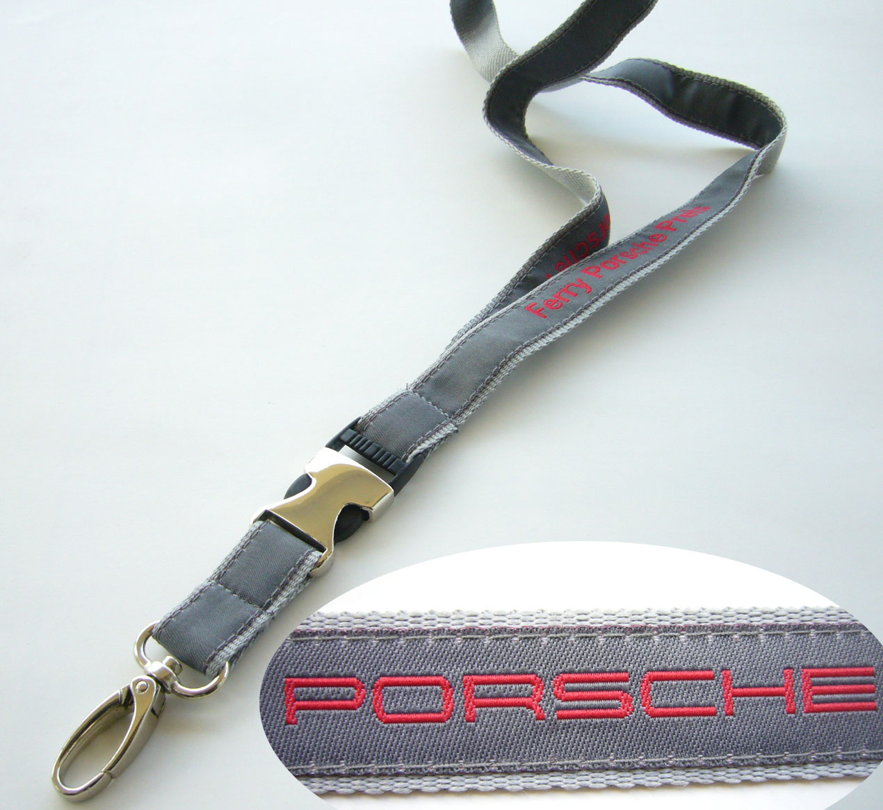 Polyester lanyard with semi safety release buckle