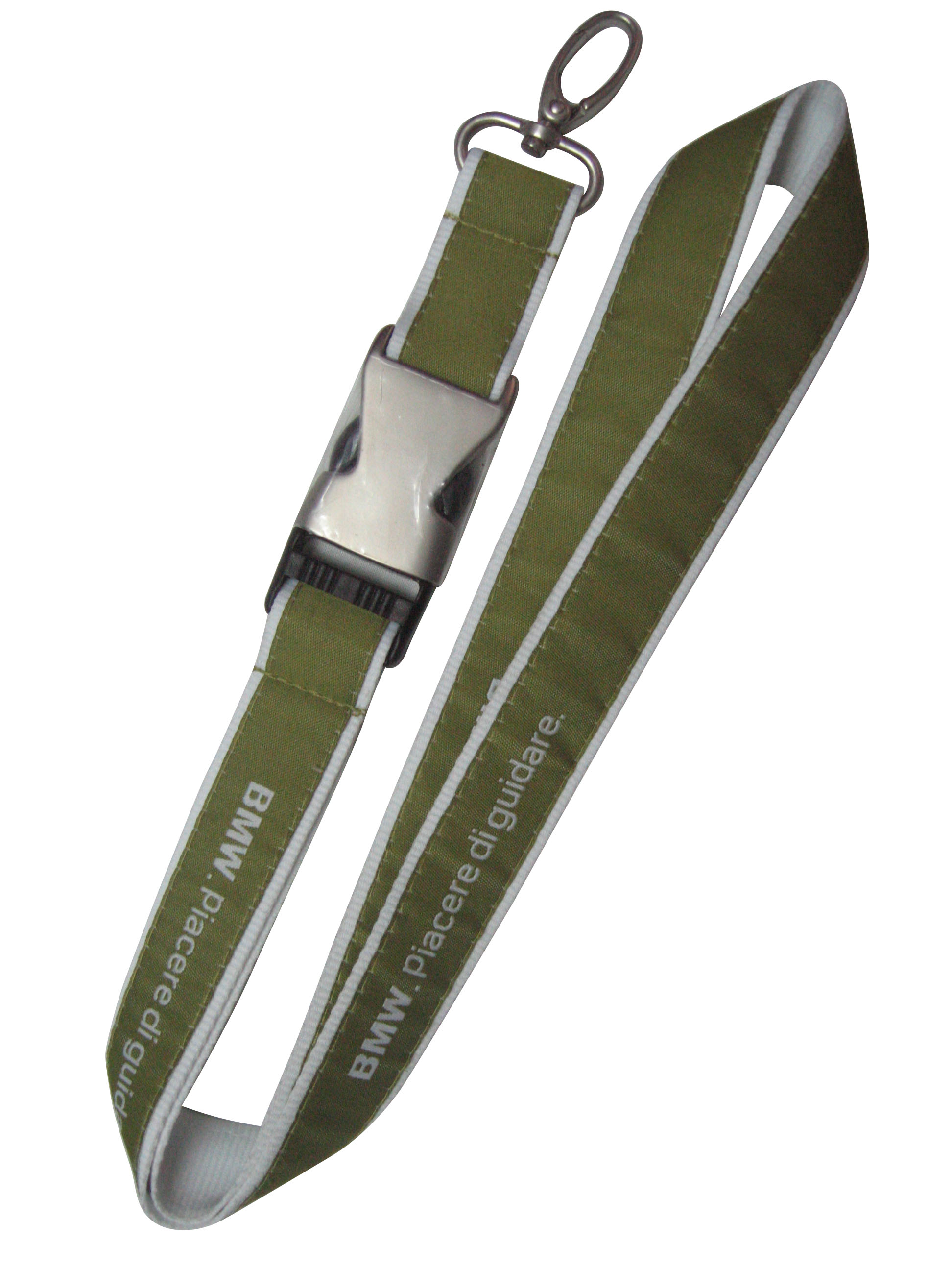 Polyester lanyard with nickel plated swivel oval hook and semi m