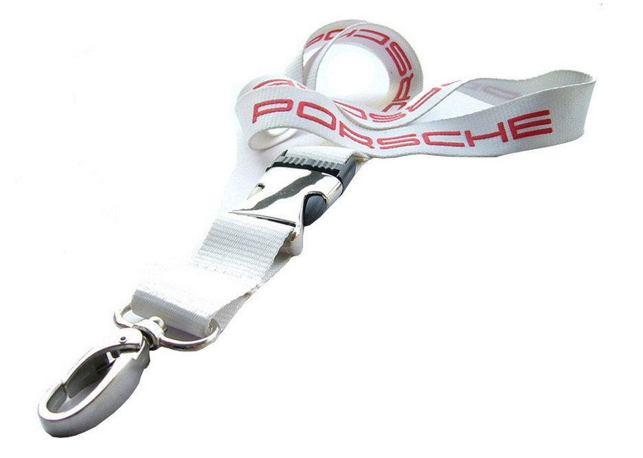 Polyester lanyard with heavy duty swivel oval hook and semi meta