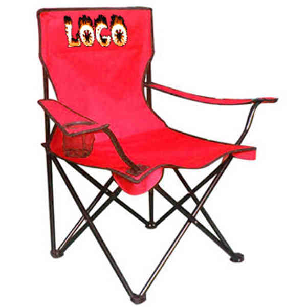 Tailgate chair with a cup holder on each arm.