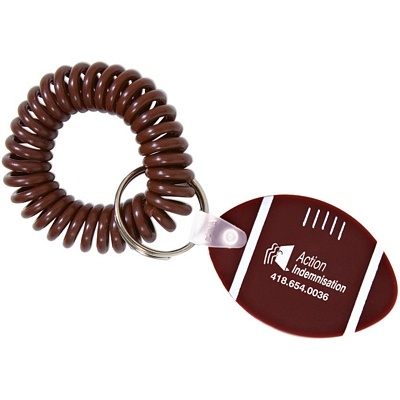 Promotional Football Wristband Coil Keychain