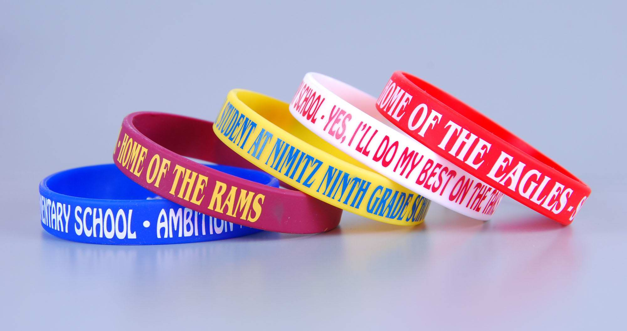 Youth size custom logo rubber wristbands