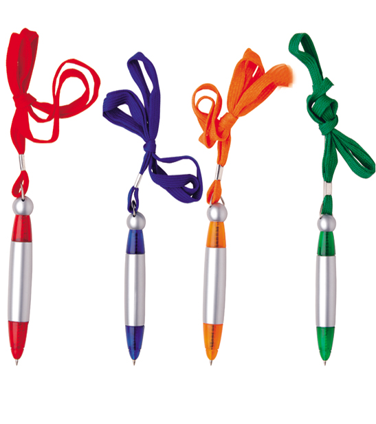 Customized logo on pen with easy carry lanyard