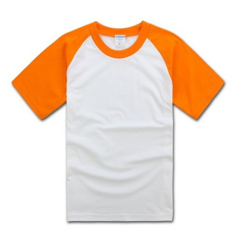100 Cotton Short Sleeve T-shirt White & Orange