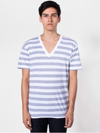 Stripe Short Sleeve V-Neck