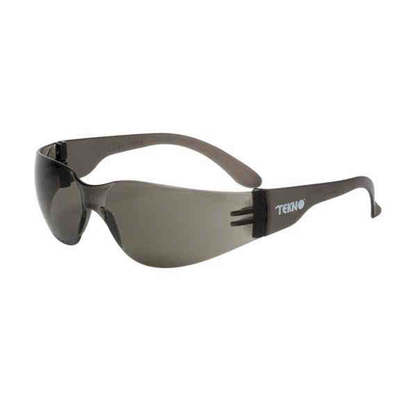 Gray lens safety glasses with single curved lens design and rein