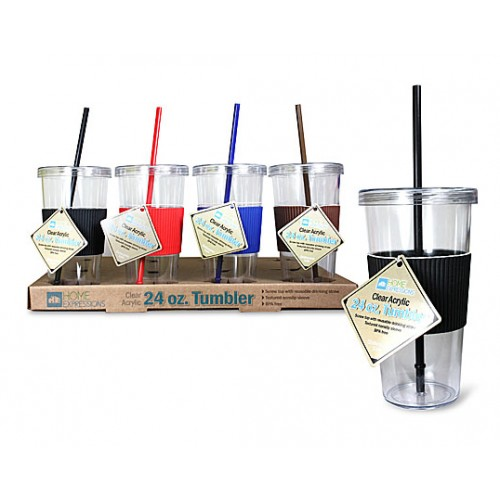24 oz tumbler with straw