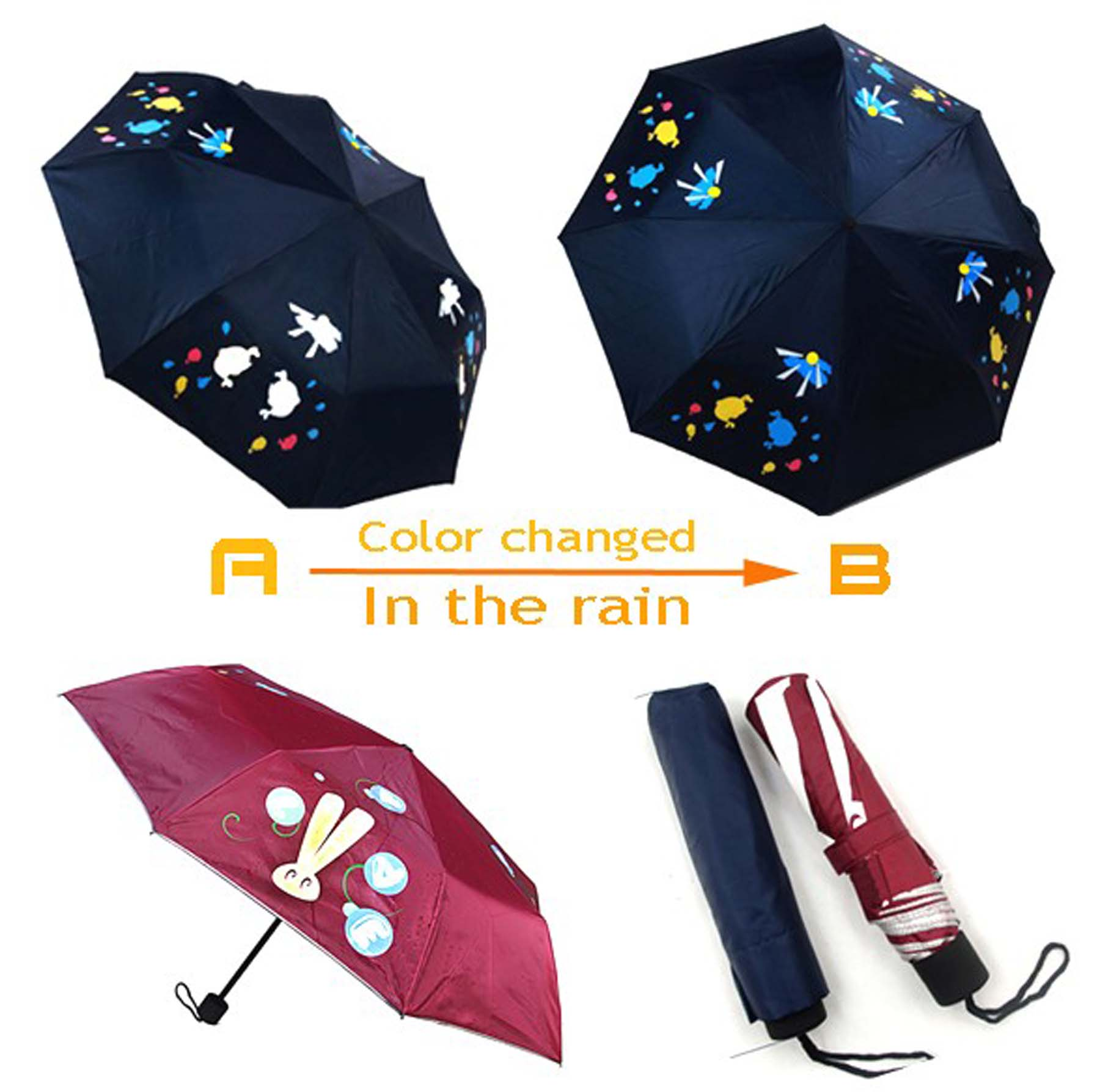 Color changed in the rain folding umbrella