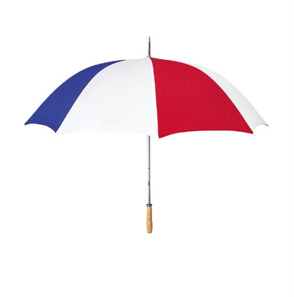 "White/blue/red 48"" arc umbrella"