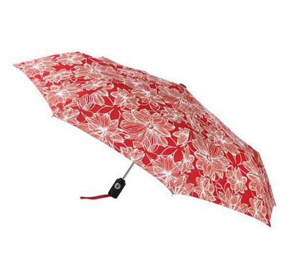 Red leave print lightweight umbrella