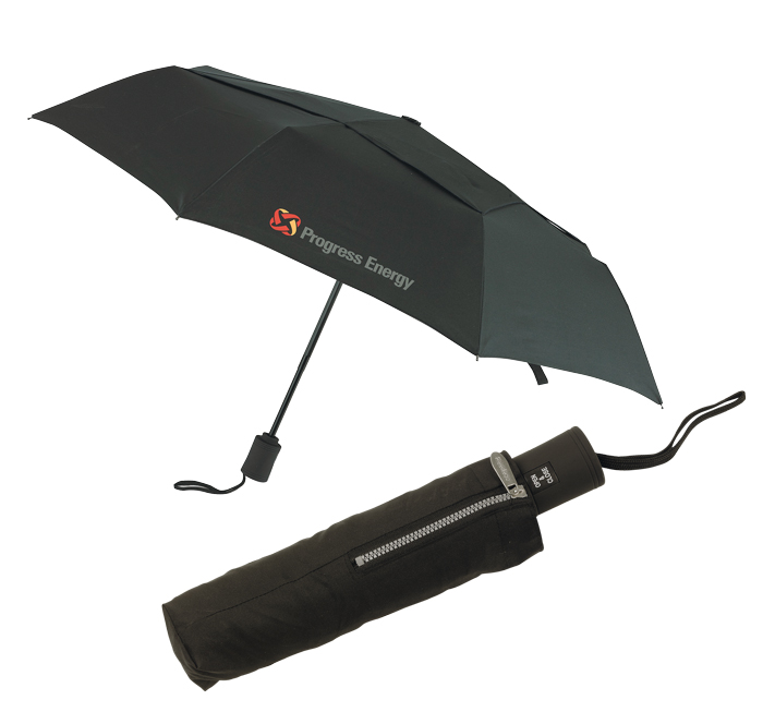 Vented auto open telescopic folding umbrella