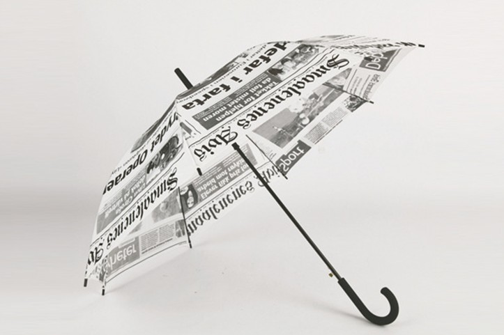 Newspaper designed totes stick umbrella