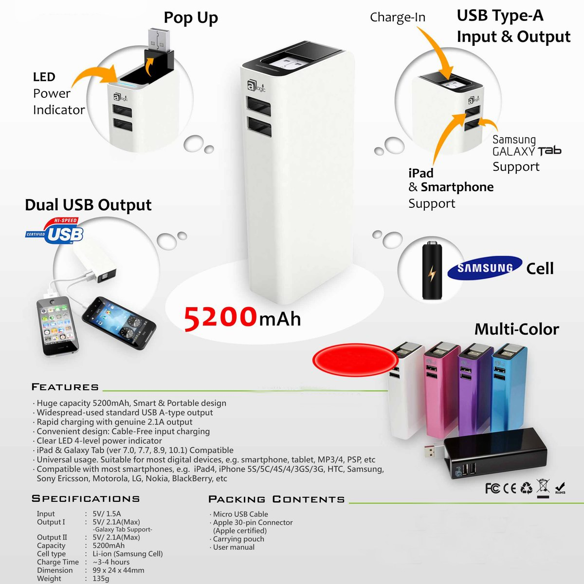 Portable 5200mAh Battery Bank