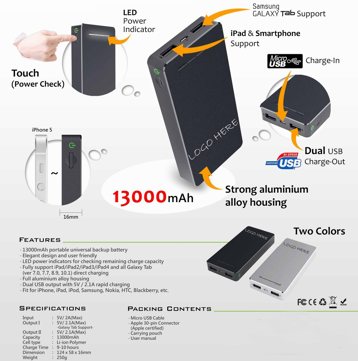 13000mAh high capacity power charger